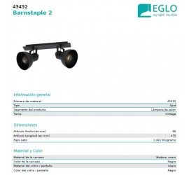 REGLETA BARNSTAPLE 2xE27/40W/230V