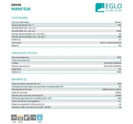 APLIQUE LED C/SENSOR MANFRIA 10W 830Lm-3000K