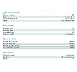 BALIZA NEGRA LED DONINNI 1 6W-600Lm-4000K