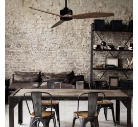 Ventilador Garbin negro y madera sin luz